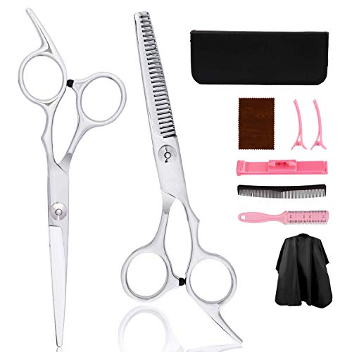 Haarschere Set,Redmoo Premium Scharfe Friseurscheren,Profi Effilierschere Friseurscheren aus Edelstahl zum Ausdünnen und Strukturieren,Haarschneideschere für Damen,Herren und Kinder