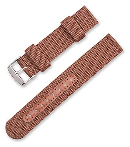Beapet Correa de la OTAN Reloj de Reloj de Reloj de Nylon Simple Strap Inteligente Impermeable Reloj Deportivo Strap18mm 20mm 22mm 24mm (Color : Brown, Size : 22mm)