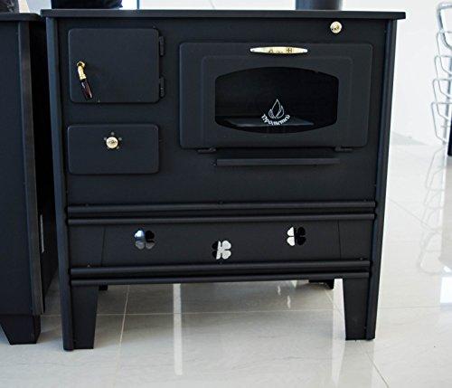 Cocina de leña de Prometey; 7 kW, con horno, superficie de hierro forjado y puerta con cristal, tipo Nar