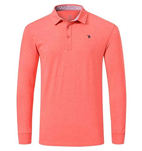 YSENTO Herren-Poloshirt, langärmlig, einfarbig Gr. M, Orange