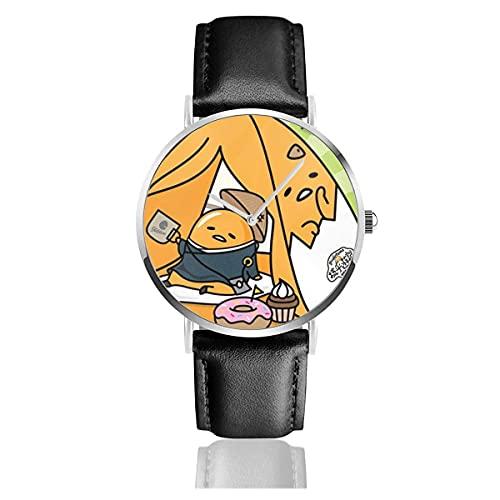 Relojes de Pulsera Gudetama JP Reloj de Cuarzo con Correa de Cuero de PU para Hombre Mujer colección Regalo Unisex Informal de Negocios