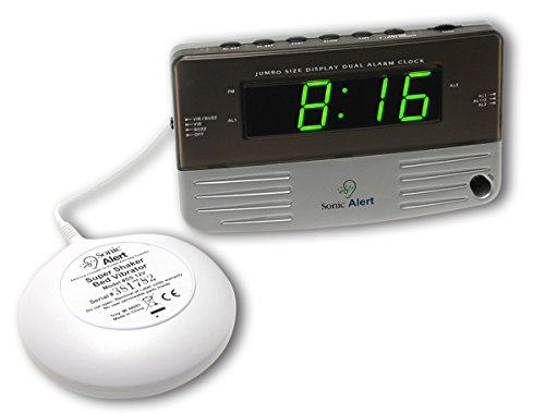 Sonic Alert SB200SS Alarm Clock, Battery Backup | Wake with a Shake, Multicolored