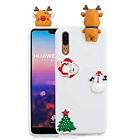 ケース Huawei P20、薄型 かわいい 3D 漫画 クリスマス 新しい パンダ ケース、シリコン ソフトフレーム tpu カバー、ユニーク 人気 耐衝撃 弾性 軽量 薄型 衝撃吸収 全面保護カバー, 面白いユニークなラッキーギフト、子供、女の子、婦人のための,by Beautycatcher - 白+エルク