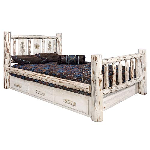 Lowest Price! Montana Woodworks Pine Design Storage Engraved Bed in Clear Lacquer Finish (Twin: 87 i...