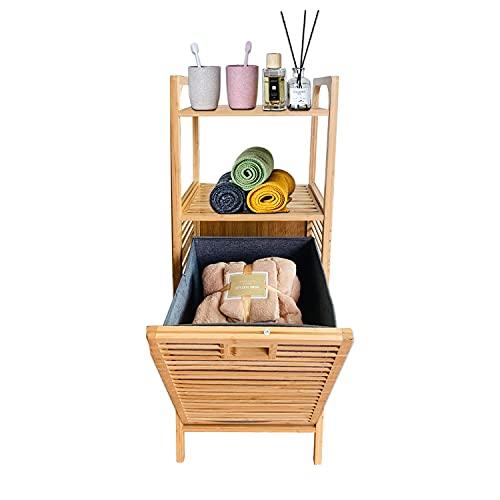 Cesto para la ropa de bambú con bolsas extensibles para la colada, estantería para el baño con cesta extraíble para la colada