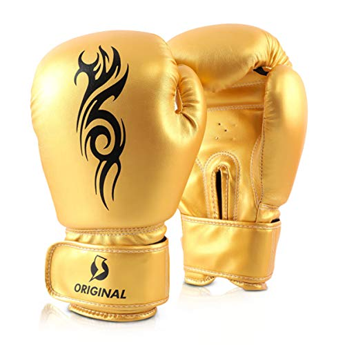 OLYSPM Guantes de Boxeo para Muay Thai y Entrenamiento|8oz,10oz,12oz,14oz|para Entrenamiento,Combate,Kickboxing,Lucha| Guantes para jóvenes(Amarillo)