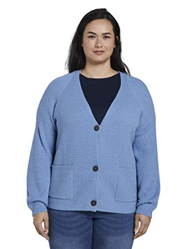 TOM TAILOR MY TRUE ME Damen Pullover & Strickjacken Kurzer Cardigan mit Strickmuster Light Blue,48
