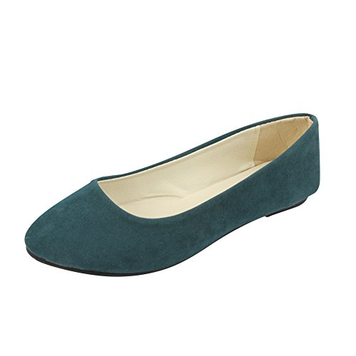 Stiefel Damen Flachschuhe Einzel Schuhe Frauen Sandalen Casual Halbschuhe Comfort Sohle Freizeitschuh Wildleder,Dunkelgrün,EU 41