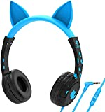 [Upgrade] iClever HS01 Kids Headphones with Mic, Cat Ear Hello Kitty Headphones for Kids Boys Girls, Adjustable 85/94dB Volume Limit, Childrens Headphones for School/Tablet, Blue