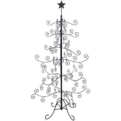 Sunnydaze Noelle Christmas Ornament Tree - Decorative Black Metal Standing Ornament Stand - Features Multiple Hooks for Ornaments, Glass Globes, Christmas Balls, and Small Craft Items - 60 Inches Tall