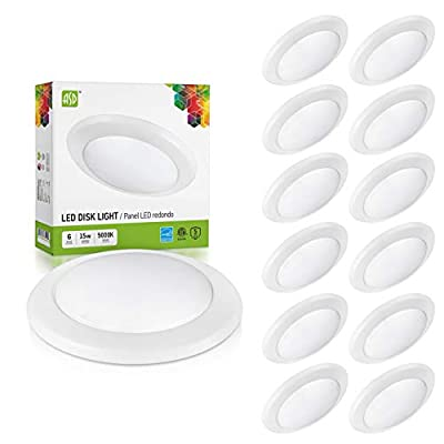 ASD 12 Pack 6 Inch LED Disk Light, Dimmable Low Profile Ceiling Light, White Finish Flush Mount Fixture, 15W(100W Eq.), 1300 Lm, 5000K, J-Box or Recessed Can, Wet Location, ETL&Energy Star