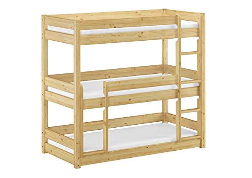 Erst-Holz® Dreier-Etagenbett für Erwachsene Stockbett für DREI Personen 90x200 Kiefer Massivholz V-60.03-09, Ausstattung:Rollrost und Matratzen inkl.