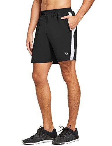 BALEAF Men's 5 Inches Running Athletic Shorts Zipper Pocket Black Size L