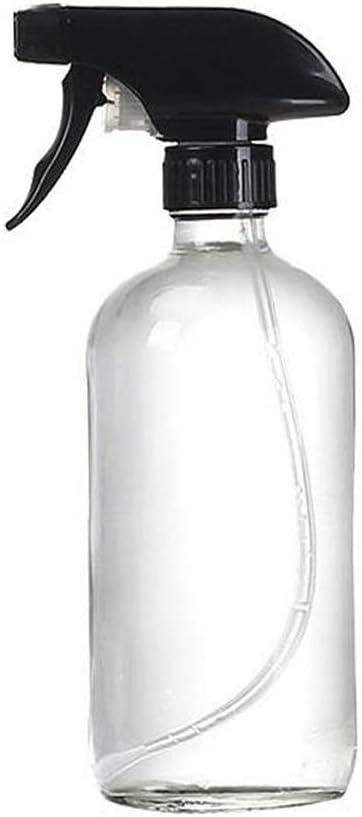 1 botella vacía recargable de cristal transparente de 500 ml con pistola negra, cabezal de espray de aceite esencial para aromaterapia, tarros cosméticos, recipiente de limpieza