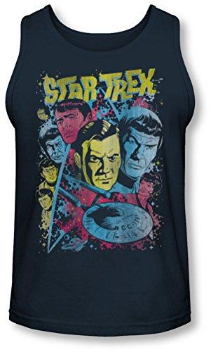 Star Trek - - Classique Crew Illustrated Tank-Top pour hommes, Large, Navy