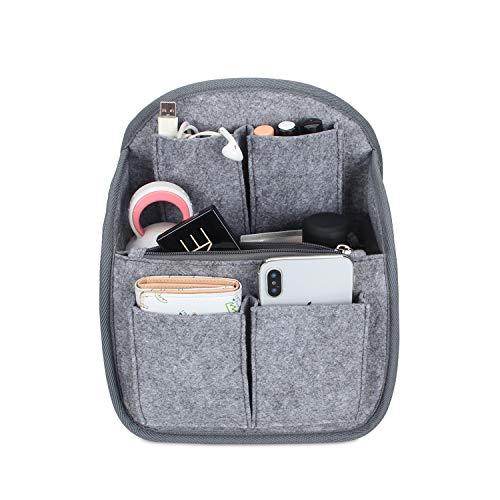 Luxja Backpack Organiser Insert Bag, Felt Bag Organiser for Backpack, Lightweight Travel Organiser Bag Insert, Big Enough for A4 Paper, Grey