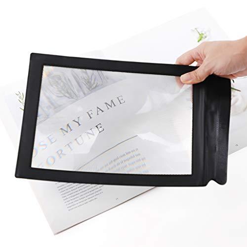 3X großes rechteckiges Leselupe Handlupe PVC Vollbild Lupe Vergrößerungsglas PU-Rahmen Arbeitslupe Desktop Lupen geeignet für Senioren, zum lesen von Büchern, Magazinen, Zeitungen und Landkarten