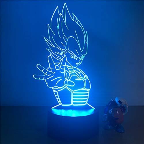 Luz 3D LED Luz nocturna Dragon Ball Z Goku Super Saiyan Figura 7 Color Decoración de la mesa táctil Luz Ilusión óptica