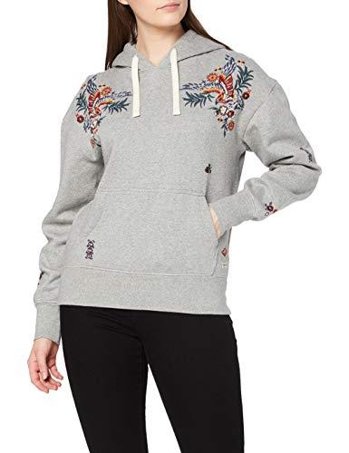 Superdry Womens Crafted Folk Hood Hooded Sweatshirt, Peppered Grey Grit, 12