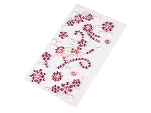Fleurs perles autocollant Le pièce, avec bandes adhésives, pierres décoratives, Bijoux, pierres, cristaux, cartes, plusieurs couleurs rose bonbon