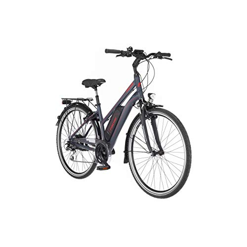 FISCHER Damen - Trekking E-Bike ETD 1806.1, Elektrofahrrad, dunkel anthrazit matt, 28 Zoll, RH 44 cm, Hinterradmotor 45 Nm, 48 V/557 Wh Akku