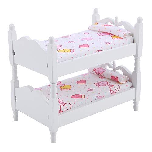 Miniaturpuppen Haus Bett Puppenhaus Miniatur Funiture Langlebige Puppen Hausmöbel Queen Bett Puppe Etagenbett Spielzeug für Puppenhaus(Pink Gloves)
