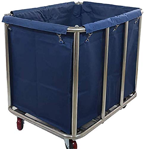 TQJ Storage Baskets for Bedroom Laundry Cart With Silent Wheels, Rolling Laundry Sorter Hamper with Detachable Oxford Cloth Bag, Stainless Steel Frame Storage Baskets Large (Color : Blue)