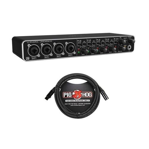 Behringer U-PHORIA UMC404HD USB 2.0 Audio/MIDI Interface - with 10' 8mm XLR Microphone Cable