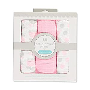 Petite L'amour Baby Girls' 3-Pack Swaddle Blankets – Pink, one Size