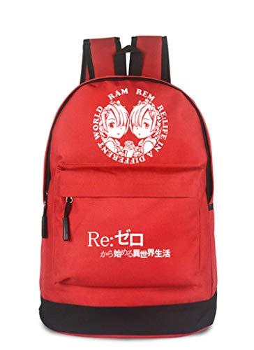 WANHONGYUE Re:Life in a Different World from Zero Anime Cosplay Backpack Rucksack Schultasche Freizeittasche Sporttasche /1 Rot