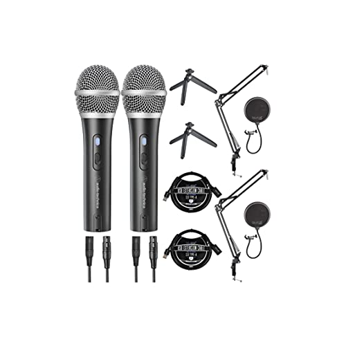 Audio-Technica ATR2100X-USB Cardioid Dynamic Microphones (ATR Series) (2-Pack) Bundle with Blucoil USB-A Mini Hub, Boom Arm Plus Pop Filters (2-Pack), and 3-FT USB 2.0 Type-A Extension Cables (2-Pack)