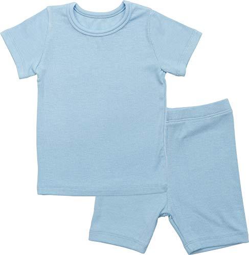 AVAUMA Newborn Baby Little Boys Snug-Fit Pajamas Summer Short Sets Pjs Kids Clothes (XS/Sky Blue)