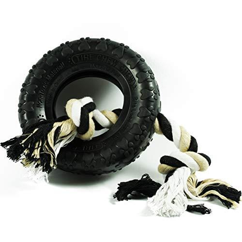 Rollmops Interaktives Kauspielzeug für Hunde | Extrem robuster Gummireifen | Seil aus 100% Baumwolle | ø14cm