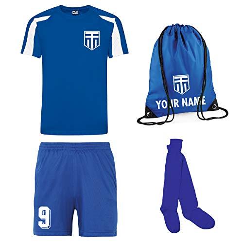 Kinder Trikot, Shorts, Socken, personalisierbar, Griechenland-Stil, personalisierbar Gr. 12-13 Jahre, Königsblau und Weiß mit königsblauen Shorts und Socken.