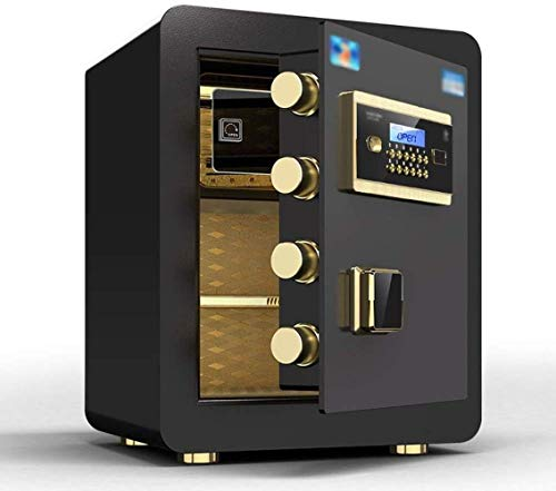 Safes Safe Box voor veiligheidskast, alle stalen brandwerende kleine eendeurs anti-diefstal elektronisch wachtwoord grote capaciteit Kluis 46 x 40 x 33 cm Safebox Ochre Black