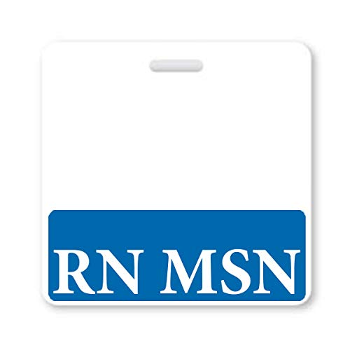 RN MSN Badge Buddy - Heavy Duty Horizontal Badge Buddies for Masters of Science in Nursing Degree - Spill & Tear Proof Cards - 2 Sided USA Printed Role Identifier Tag Backer by Specialist ID (Blue)