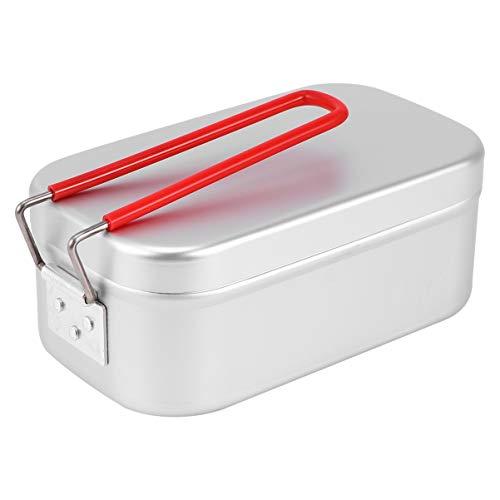 BESPORTBLE Fiambrera de Metal Caja de Almuerzo de Aluminio con Asa Plegable Contenedor de Comida de Metal para Camping de Oficina Escolar (Tamaño S)
