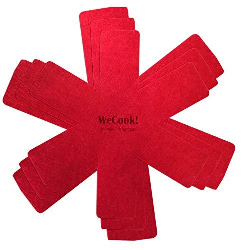 WECOOK Protector de sartenes y ollas, Tela Rojo, Ideal para Evitar rayaduras en Sartenes y Ollas con Antiadherentes, Acero Inoxidable o Gres