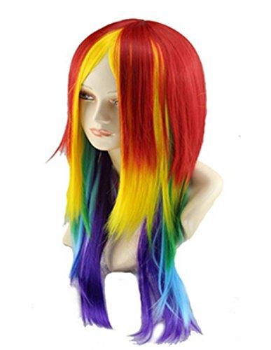 Women 27.56'' Long Straight Rainbow Cosplay Wig