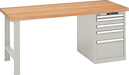 LISTA Werkbank, 1 Fuß, 1 Schubladenblock, 5 Schubl. 1x50, 2x100, 1x150, 1x300 mm, Zyl.schloss, Multiplexpl . 40 mm, BxTxH 1500x750x840 mm, RAL 7035 lichtgrau
