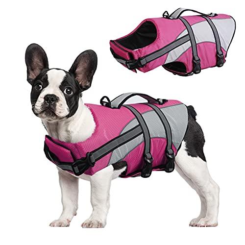 Hundeschwimmweste mit hoher Schwimmfähigkeit, Schwimm-Outfit mit reflektierenden Streifen, Haustier-Rettungsschutz mit starkem Rettungsgriff für kleine, mittelgroße und große Hunde, Schwimmhilfe