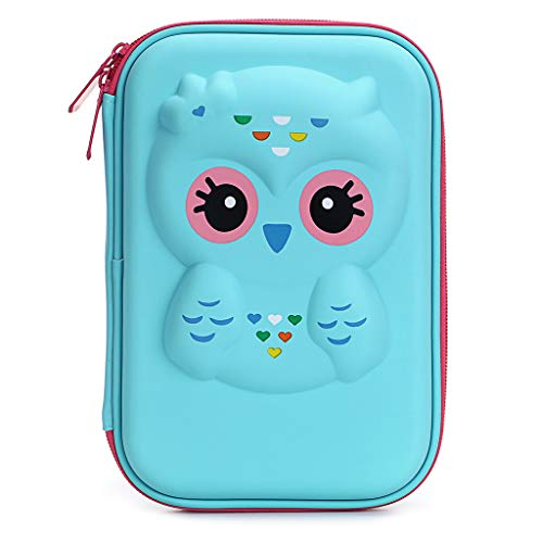 BTSKY Cute Owl Hard Shell Pencil Case- Large EVA Colored Pen Holder Box With Compartments Girls Cosmetic Pouch Bag Stationery Organizer (Blue Owl)