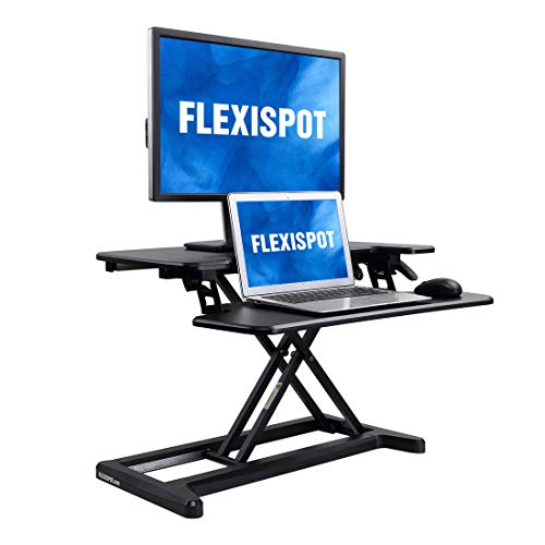 FlexiSpot Stand Up Desk Converter -28 Inches Standing Desk Riser with Deep Keyboard Tray for Laptop (28', Black, M7B)