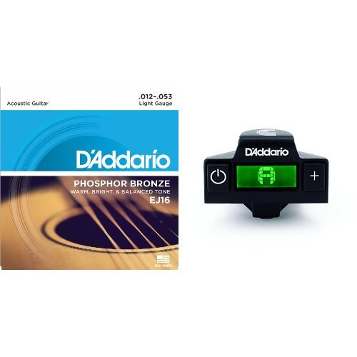 ダダリオ アコースティックギター弦 フォスファーブロンズ Light .012-.053 EJ16 + Planet Wavesマイクロサウンドホールチューナー PW-CT-15セット