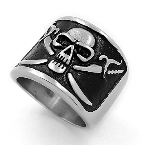 Nuevo anillo retro de pirata con calavera de terror para hombre, accesorios de anillo punk con personalidad a la moda, joyería de fiesta -7