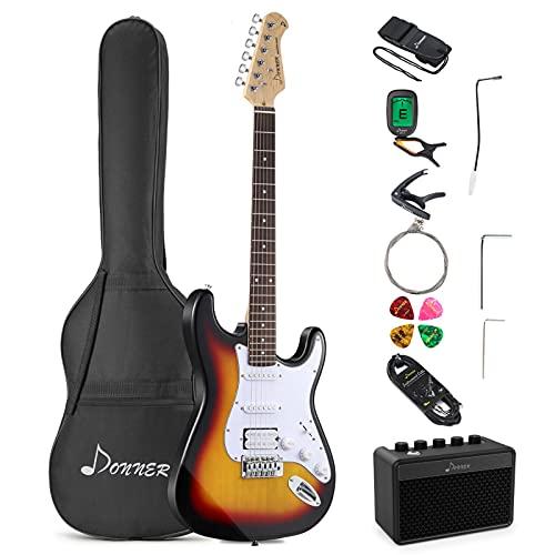 Donner Pack Guitare Electrique, S-S-H Pickups, Kit Guitare Stratocaster Pleine Taille 39 Pouces avec Amplificateur, Sac, Capodastre, Sangle, Corde, Accordeur, Câble, Médiators (Sunburst Classique)