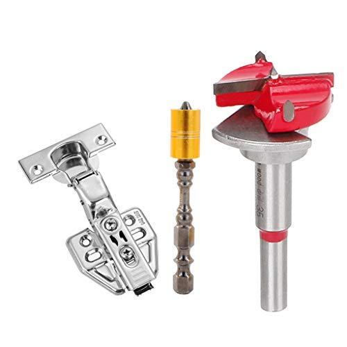 Treehomein - Broca de carburo ajustable para taladrar agujeros de bisagra, herramienta de perforación con punta de perforación, cortador de carpintería duradero y práctico