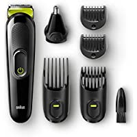 Braun 6 en 1 Recortadora todo en uno MGK3021, Máquina recortadora barba y cortapelos, recortador vello de nariz y orejas, cuchilla larga duración, color negro/verde