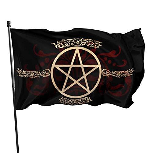 wallxxj Fahne Samhain Wicca Pentagramm Fünf-Sterne-Gartenflagge Ornament Classic Home Decor Yard Banner Willkommen Themenparty 150X90Cm Outdoor Lebendige Ferien Im Freien Bunte Jahreszeit