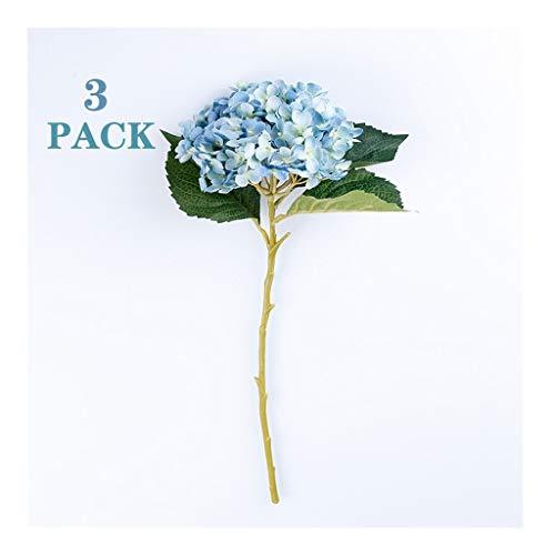 Flores Artificiales 3 piezas de Hydrangea artificial, la flor artificial de la sala de estar dormitorio TV Gabinete decoración del restaurante del banquete de boda decoración de la flor (Multi-Color)